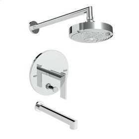 Uncoated-Polished-Brass-Living Balanced Pressure Tub & Shower Trim Set