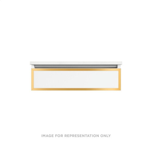 """Profiles 30-1/8"""" X 7-1/2"""" X 21-3/4"""" Framed Slim Drawer Vanity In Ocean With Matte Gold Finish, Slow-close Tip Out Drawer and Selectable Night Light In 2700k/4000k Color Temperature"""