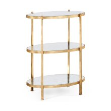 Large glomise & Gilded Iron Three-Tier Table