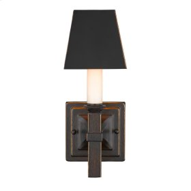 Smithsonian Bradley 1 Light Wall Sconce in Cordoban Bronze with a Black Shade