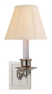 Visual Comfort S2005PN-L Studio 7 inch 40 watt Polished Nickel Swing-Arm Wall Light in Linen