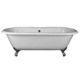 """Duet 67"""" Cast Iron Double Roll Top Tub - No Faucet Holes - Unfinished"""