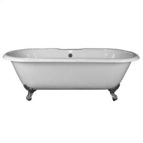 "Duet 67"" Cast Iron Double Roll Top Tub - No Faucet Holes - White"