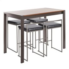 Fuji 5-piece Counter Set - Antique Metal, Walnut Wood, Black Pu