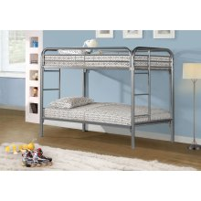 BUNK BED - TWIN / TWIN SIZE / SILVER METAL