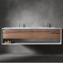 "45° UP series 1800 vanity w/shelf, White Matte frame/Vintage Oak front; 71""w x 19""h x 20""d"