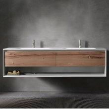 "45° UP series 1800 vanity w/shelf, White Matte frame/Vintage Oak front; 71""w x 19""h x 20""d"