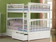 Columbia Bunk Bed Full over Full with Raised Panel Bed Drawers in White