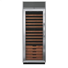 "Stainless Steel 30"" Full-Height Wine Cellar - DDWB (Left Hinge Clear Door, Designer handle)"