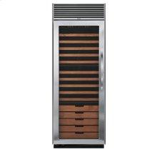 "Stainless Steel 30"" Full-Height Wine Cellar - DDWB (Left Hinge Clear Door, Designer handle)"