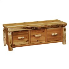 Three Drawer Entry Bench - Natural Cedar