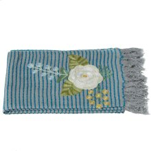Grey and Blue Striped Embroidered Floral Throw.