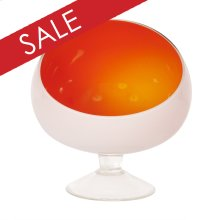 Opaque Orange Hand-blown Glass Bowl with White Outside and Clear Glass Foot - Large