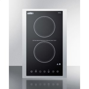 """Summit115v 2-burner Cooktop In Black Ceramic Schott Glass With Digital Touch Controls and Stainless Steel Frame To Allow Installation In 15"""" Wide Counter Cutouts"""