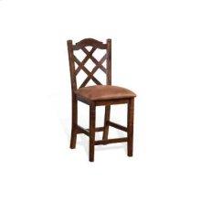"24""H Santa Fe Double Crossback Barstool w/ Cushion Seat"