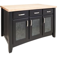"52-1/2"" x 32-1/2"" x 35-1/2"" Black furniture style kitchen island ample storage on both sides and cabinet doors featuring modern glass inserts."