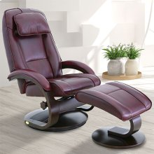 Bergen Recliner and Ottoman in Merlot Top Grain Leather