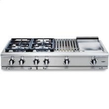 """48"""" 4 Burner w/Double Griddle Gas Rangetop - NG"""