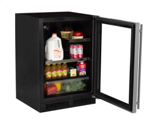 """24"""" Beverage Refrigerator with Drawer - Stainless Frame Glass Door - Right Hinge"""