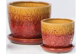 Orange/Red Fondre Petits Pots with Attached Saucer - Set of 2