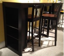STORAGE BAR TABLE W/ 2 STOOLS