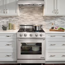 """Distinctive 30"""" Slide-In Gas Range, in Stainless Steel, with Flush Handle, and 1-3/4"""" Low-Profile Backguard with 3-1/4"""" Side Panels"""