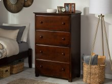Atlantic 4 Drawer 48 inch Chest in Walnut