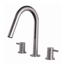 Three hole faucet with R70 fixed spout