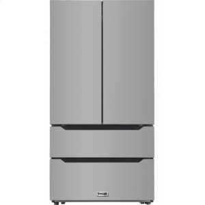 ThorThor Kitchen - 22.5 Cu. Ft. 4-door French Door Refrigerator With Recessed Handle In Stainless Steel, Counter Depth