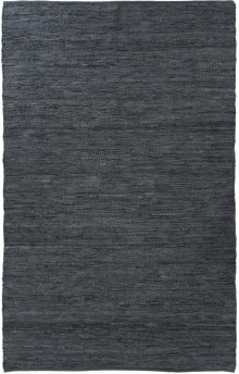 5'x8' Size Woven Leather Slate Blue Rug