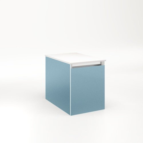 """Cartesian 12-1/8"""" X 15"""" X 18-3/4"""" Single Drawer Vanity In Ocean With Slow-close Full Drawer and Night Light In 5000k Temperature (cool Light)"""