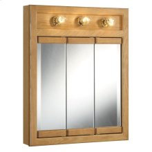 "Richland 3-Light Tri-View Wall Cabinet Mirror 24"" Nutmeg Oak #530592"
