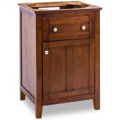 """23-11/16"""" vanity with chocolate finish and a clean shaker design."""