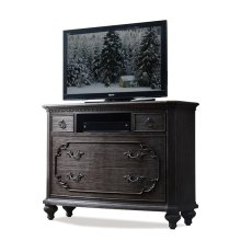 Bellagio Media Chest Weathered Worn Black finish