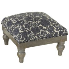Indigo Floral Block Print Stool (Each One Will Vary).