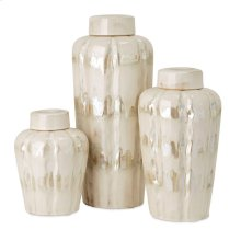Blaise Lidded Decorative Ceramic Jars - Set of 3