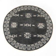 9' Size Tribal Faded Black Round Rug