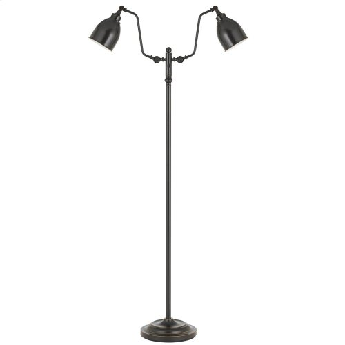 60W X 2 Dual Light Pharmacy Floor Lamp With Metal Shade
