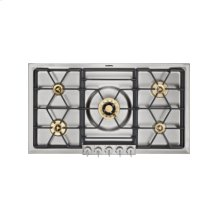 "200 series gas cooktop VG 295 114 Stainless steel with stainless steel control panel Width 36"" Propane gas Wok burner with 5 KW"