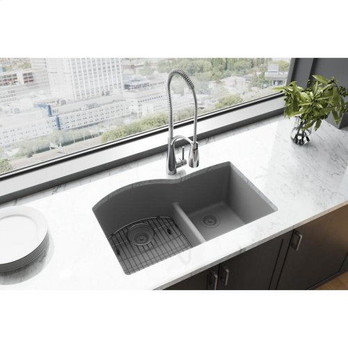 "Elkay Quartz Classic 33"" x 22"" x 10"", Offset 60/40 Double Bowl Undermount Sink with Aqua Divide, Greystone"
