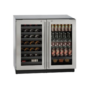 "U-Line Modular 3000 Series 36"" Beverage Center With Stainless Frame (Lock) Finish And Double Doors Door Swing (115 Volts / 60 Hz)"