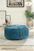 Round Ottoman on Casters Blue Product Image