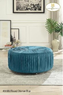 Round Ottoman on Casters Blue