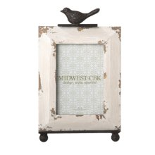 Distressed Ivory 4x6 Frame with Bird Stand set/2.