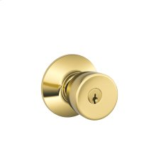 Bell Knob Keyed Entry Lock - Bright Brass