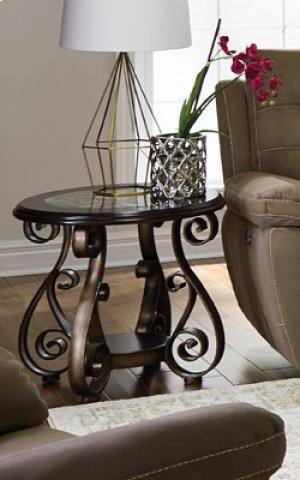 Round End Table, W/glass