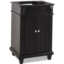 """22-7/8"""" vanity with sleek black finish, clean lines and tapered feet to give a modern feel."""