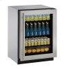 """U-Line Modular 3000 Series 24"""" Glass Door Refrigerator With Stainless Frame Finish And Field Reversible Door Swing (115 Volts / 60 Hz)"""