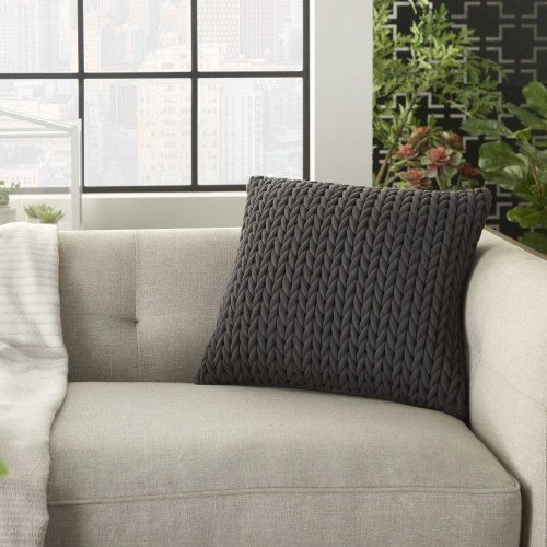 "Life Styles Et299 Charcoal 18"" X 18"" Throw Pillow"