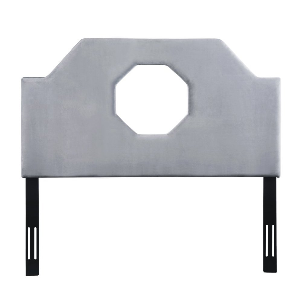 Noctis King Headboard in Grey Velvet